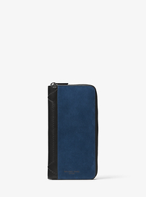 michael kors mens Henry Suede Zip-Around Wallet