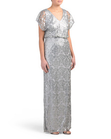 ADRIANNA PAPELL Flutter Sleeve Sequin Gown