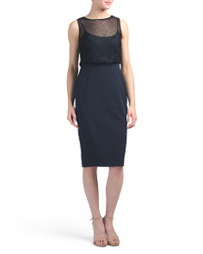 ADRIANNA PAPELL Petite Sleeveless Netted Bodice Dr