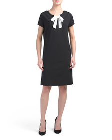 VANESSA Made In Italy Crepe Dress With Contrast Ti