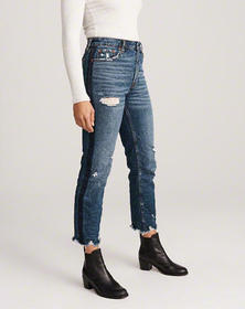 High Rise Ankle Straight Jeans, RIPPED DARK WASH