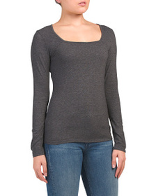 FORGOTTEN GRACE Long Sleeve Square Neck Top