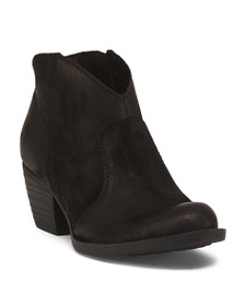 BORN Leather Western Ankle Booties