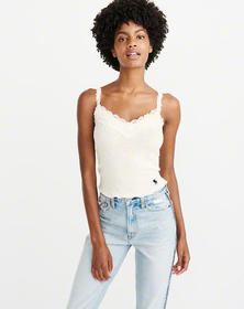 Lace-Trim Ribbed Cami, OFF WHITE