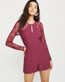 Lace Sleeve Romper, BERRY