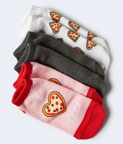 3-Pack Pizza, Solid & I Heart Pizza Ankle Sock