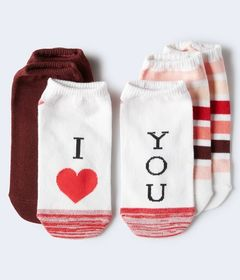 3-Pack I Heart You, Striped Solid Ankle Socks