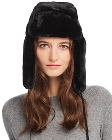 Echo - Suede-Tie Faux Fur Trapper Hat