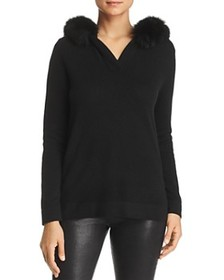 C by Bloomingdale's - Fox Fur-Trim Cashmere Hooded