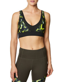 Betsey Johnson Abstract Print Deep V-Front Sports