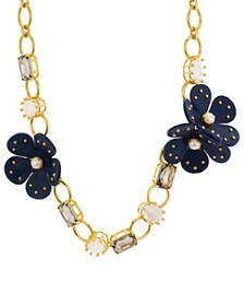 kate spade new york - Chain Leather Flower Necklac