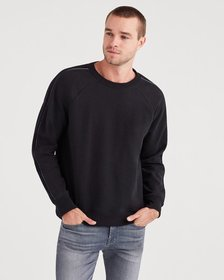 Stripe Sleeve Sweatshirt with Faux Leather in Blac