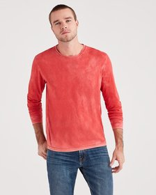 Long Sleeve Washed Tee in Red Flame