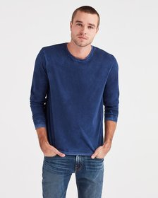 Long Sleeve Washed Tee in Navy