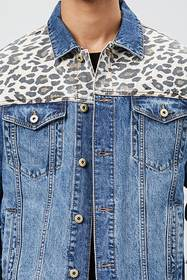 Leopard-Panel Denim Jacket