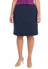 Plus Size Box Pleat Pencil Skirt