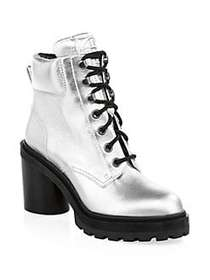 Marc Jacobs Crosby Metallic Leather Hiking Boots S