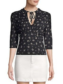 Free People Printed Tie-Neck Blouse BLACK