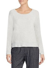 Donna Karan Heathered Long-Sleeve Tee LIGHT GREY
