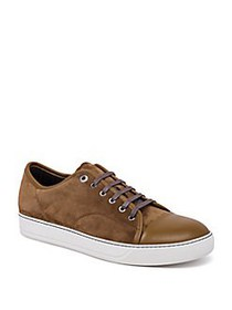 Lanvin Suede & Leather Low-Top Sneakers LIGHT BROW