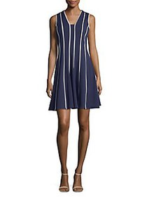 Gabby Skye Piped Fit-&-Flare Dress NAVY TAUPE