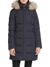 Donna Karan Side Tab Faux Fur Puffer Jacket NAVY