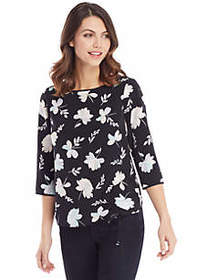 3/4 Sleeve Ruched Front Top