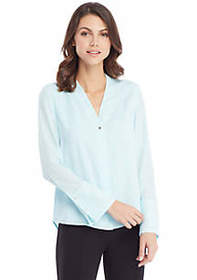 V-Neck Bell Sleeve Blouse