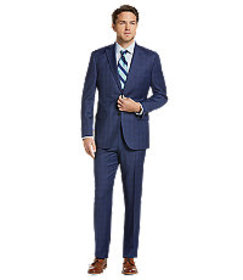 Traveler Collection Tailored Fit Plaid Suit CLEARA