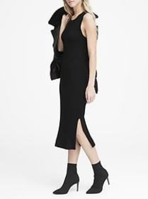 Solid Ribbed-Knit Dress