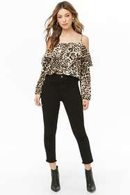 Leopard Print Open-Shoulder Top