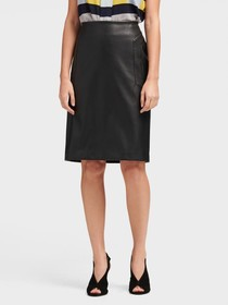 FAUX-LEATHER PENCIL SKIRT