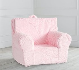 Oversized Light Pink Faux-Fur Anywhere Chair®