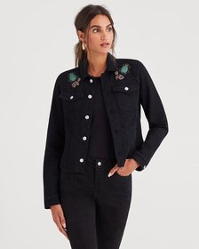 Classic Denim Jacket with Cut Off Waist Band and J