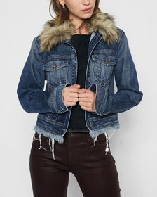 Cropped Boyfriend Jacket with (Optional) Faux Fur
