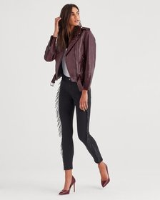 b(air) Denim Ankle Skinny in Black with Fringe