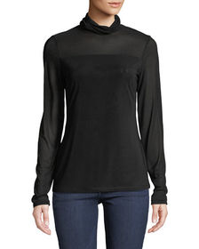 Neiman Marcus Mesh-Trimmed Turtleneck Illusion Swe