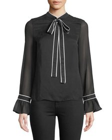 Avantlook Flare-Sleeve Crepe Blouse with Bow
