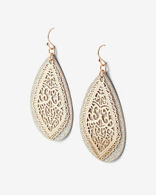 teardrop glitter filigree drop earrings