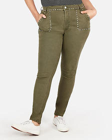 high waisted stud embellished stretch leggings