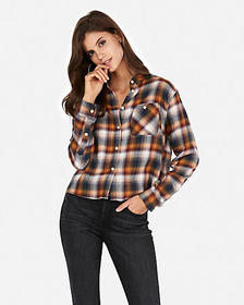 cropped multicolor flannel shirt
