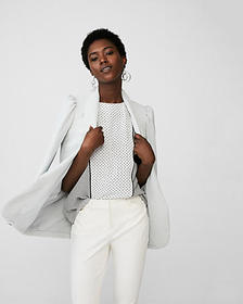 dotted zip-back crew neck blouse