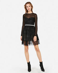edition crystal mesh fit and flare dress