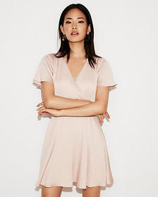 petite satin surplice flutter sleeve fit and flare