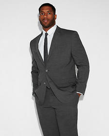 slim charcoal gray check stretch wool-blend suit j