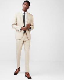 slim khaki wool-linen blend suit pant