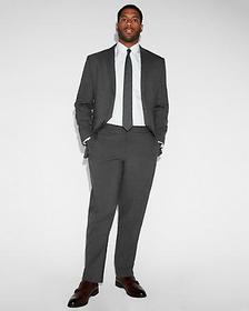 slim charcoal gray check stretch wool-blend suit p