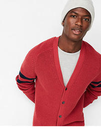striped sleeve v-neck cotton cardigan