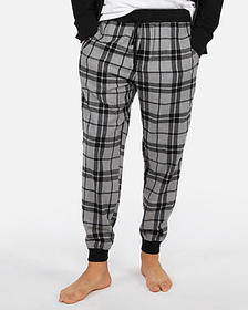 EXP weekend brushed plaid flannel jogger pant