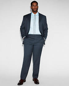 classic navy striped wool-blend suit pant